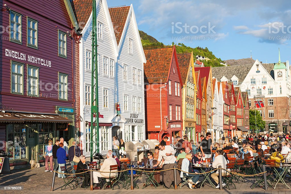 Restaurant at Bryggen in the city of Bergen, Norway stock photo