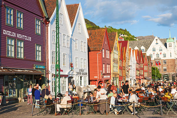 Restaurant de Bryggen dans la ville de Bergen, Norvège - Photo