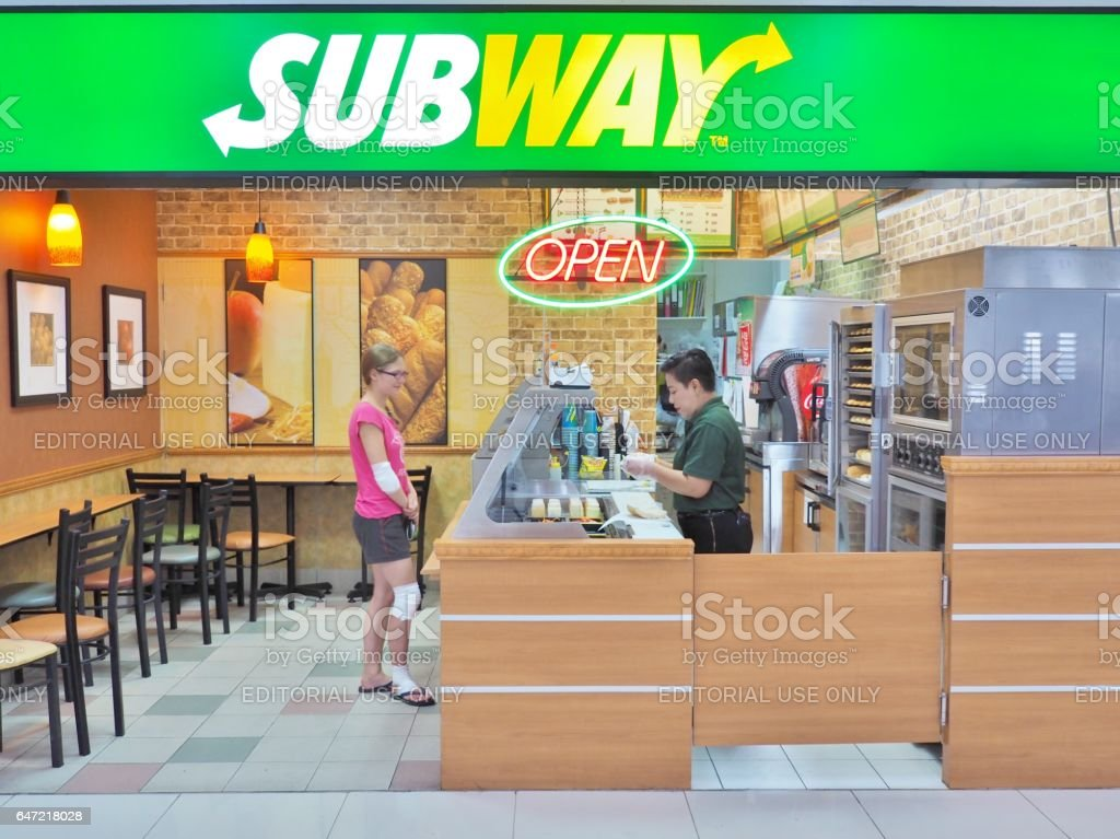 SUBWAY restaurant at Don Mueang International Airport in Thailand. stock photo