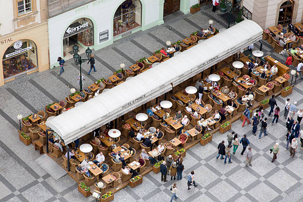 Restaurant at Old town square in Prague. stock photo