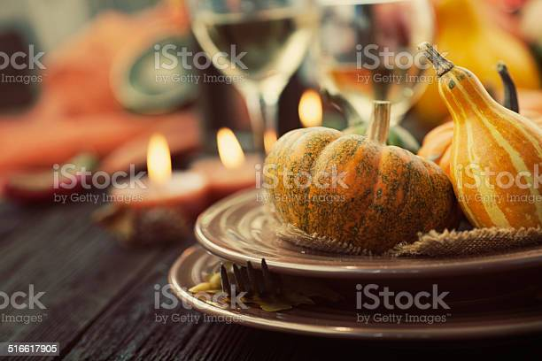 Restaurant Autumn Place Setting Stock Photo - Download Image Now
