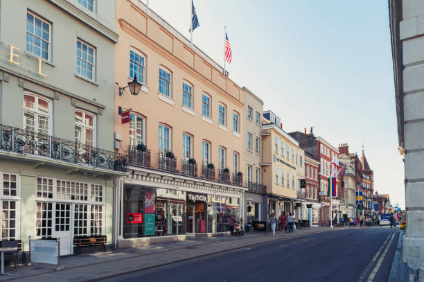 Restaurant, bar, and souvenir shop on River Street in downtown Windsor, Berkshire, England stock photo