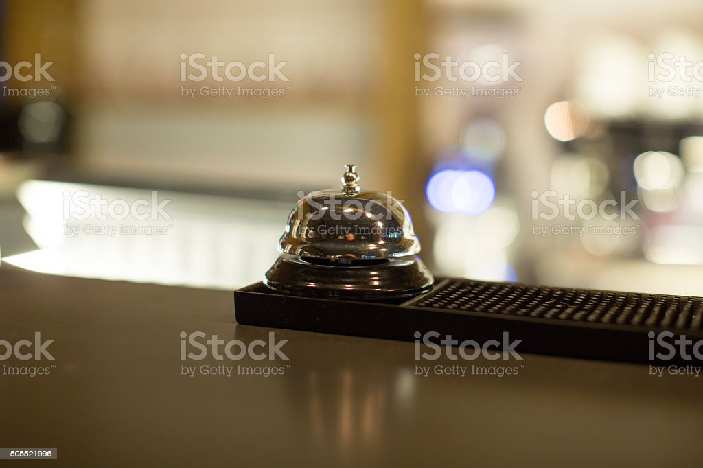 Restaurant bell on bar stock photo