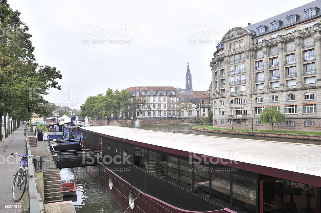Restaurant Boat in Strasbourg Canal royalty-free stock photo