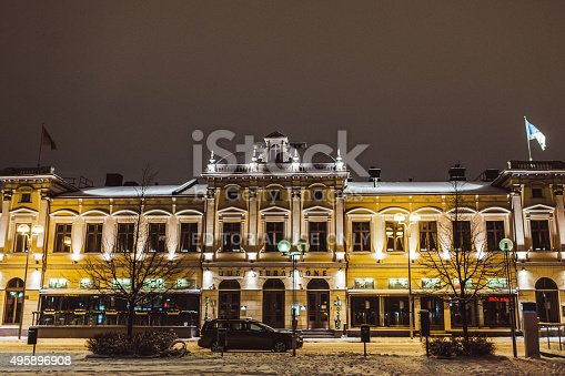 istock Restaurant building in Oulu Finland 495896908
