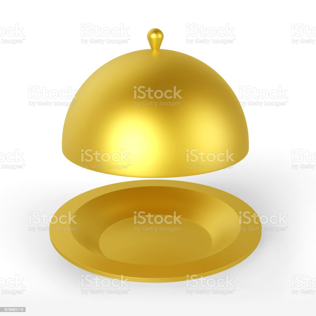 Restaurant Cloche Plate stock photo