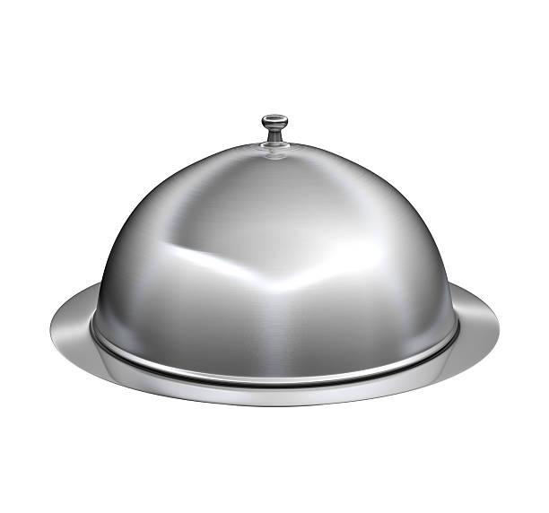 Restaurant cloche with lid stock photo