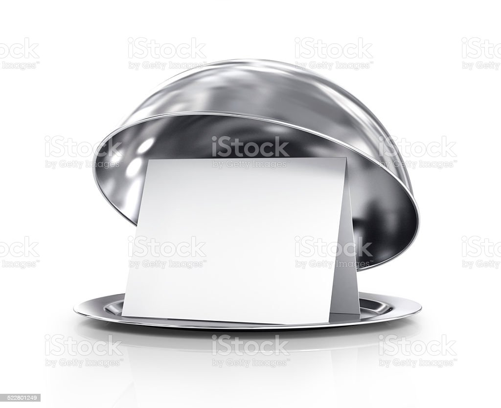 Restaurant cloche with open lid. 3d illustration stock photo