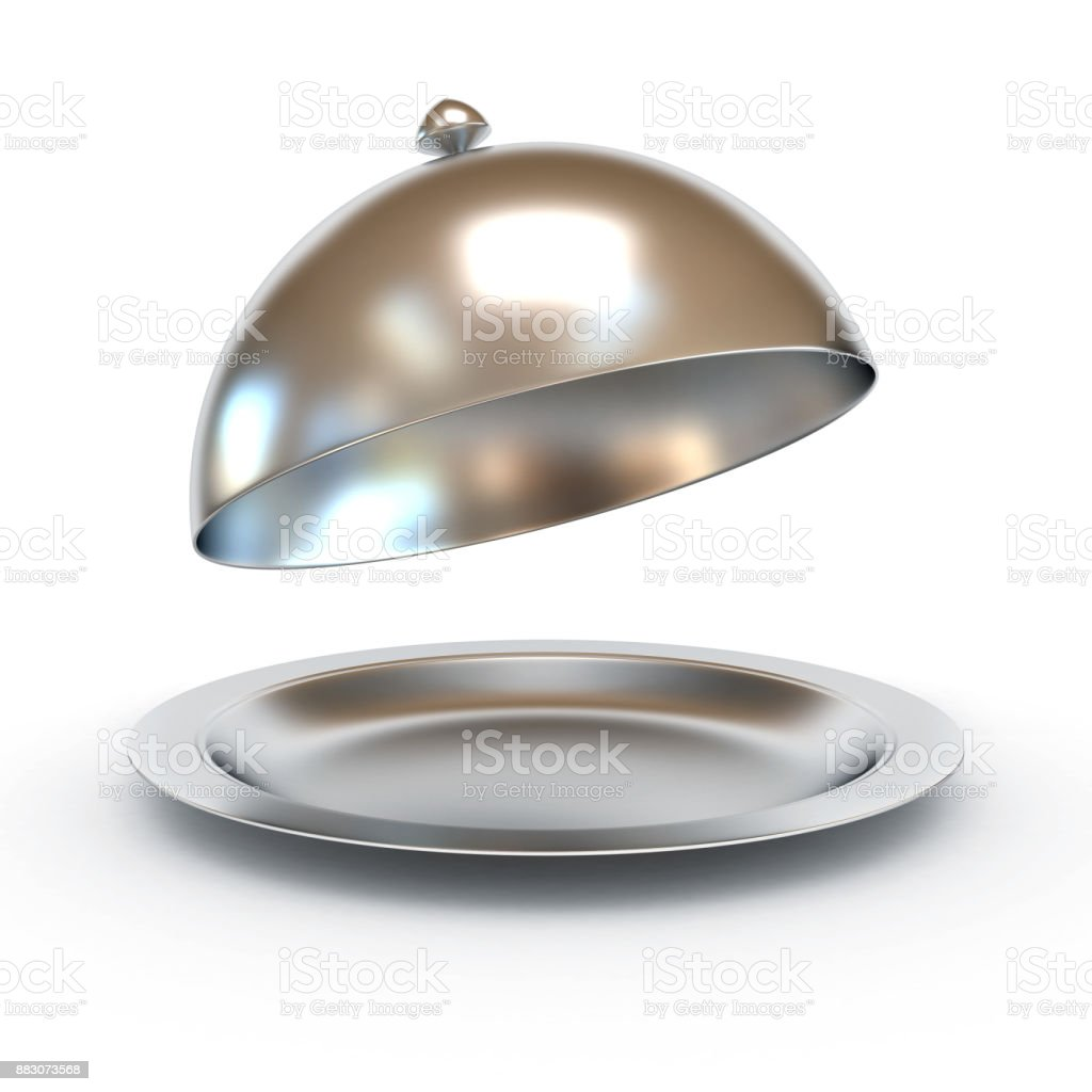 Restaurant cloche met open deksel 3d illustratie​​​ foto