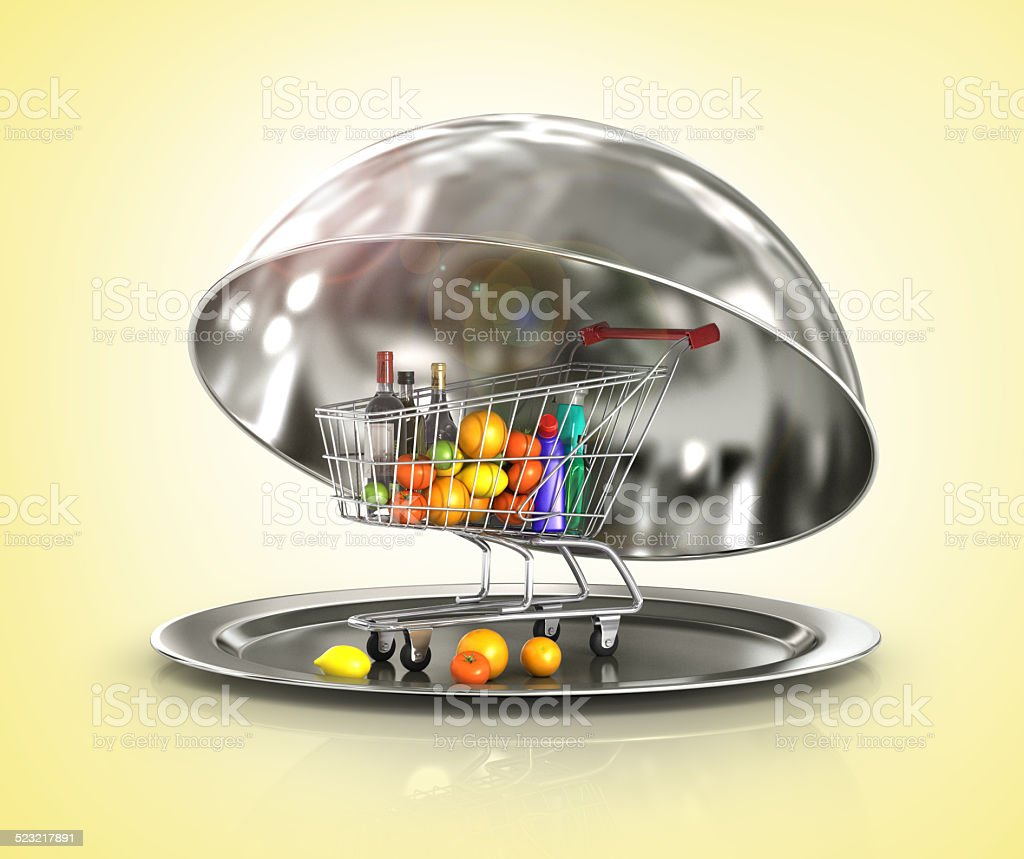 Restaurant cloche with paper template on white background stock photo
