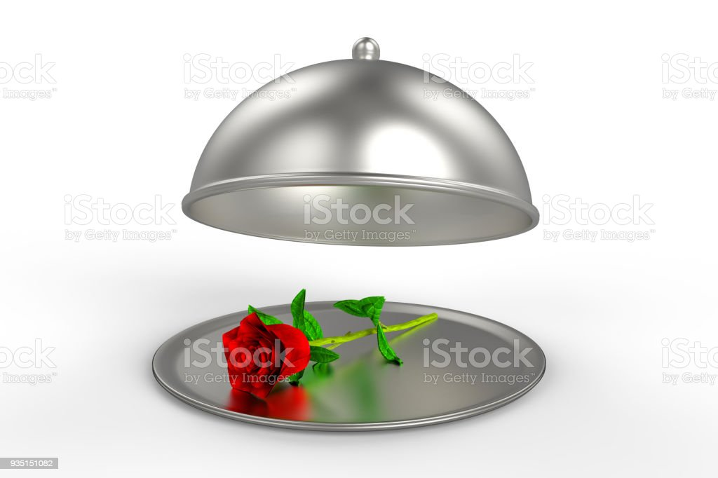 Restaurant Cloche with red rose on plate stock photo