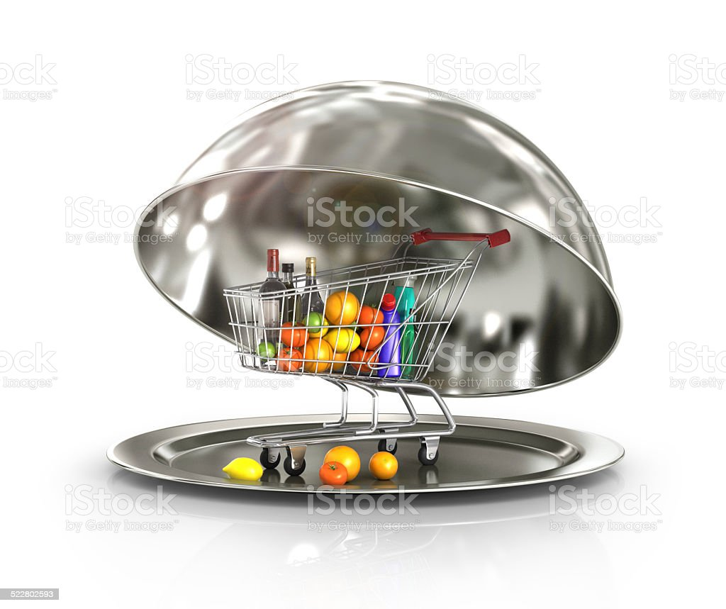 Restaurant cloche with shopping trolley, food and drinks stock photo