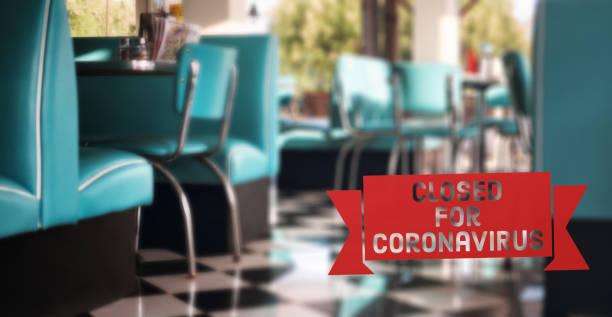 restaurant closed because of coronavirus stock photo