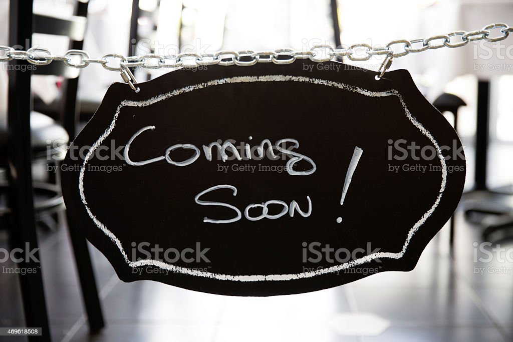 Restaurant Coming Soon Sign stock photo