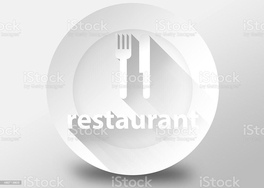 Restaurant concept with plate knife and fork 3d illustration royalty-free stock photo