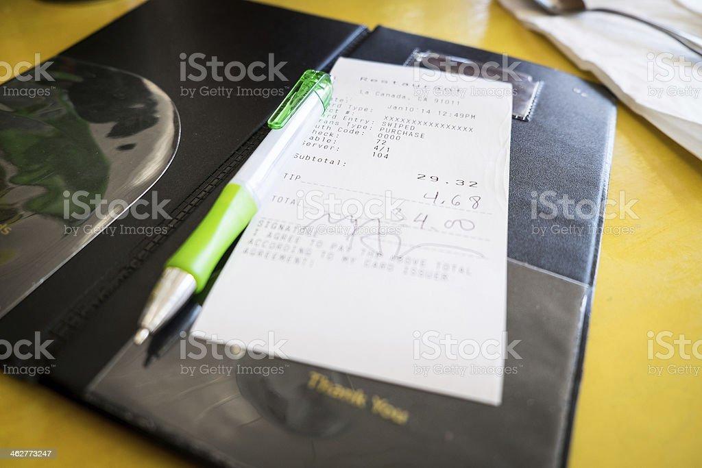 Restaurant Rechnung mit Kreditkarte – Foto