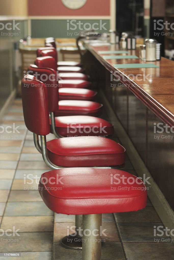Restaurant Diner Stools stock photo