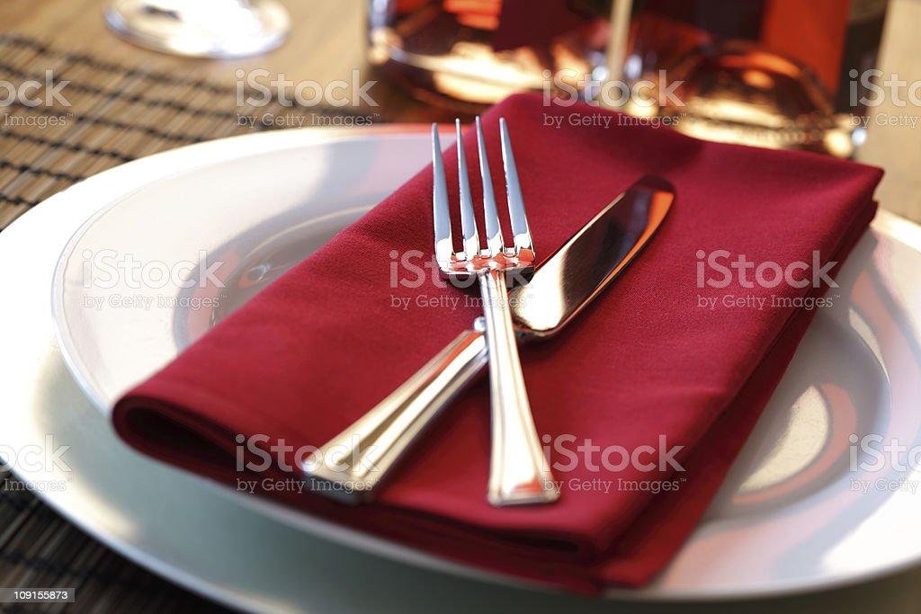 Restaurant dinner place setting stock photo
