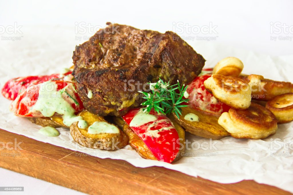 restaurant dish,backed veal royalty-free stock photo