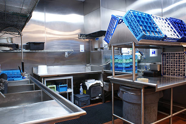 restaurant dishwashing station - commercial dishwasher stock photos and pictures