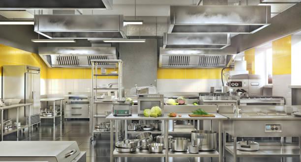 restaurant equipment. modern industrial kitchen. 3d illustration - kitchen counter imagens e fotografias de stock
