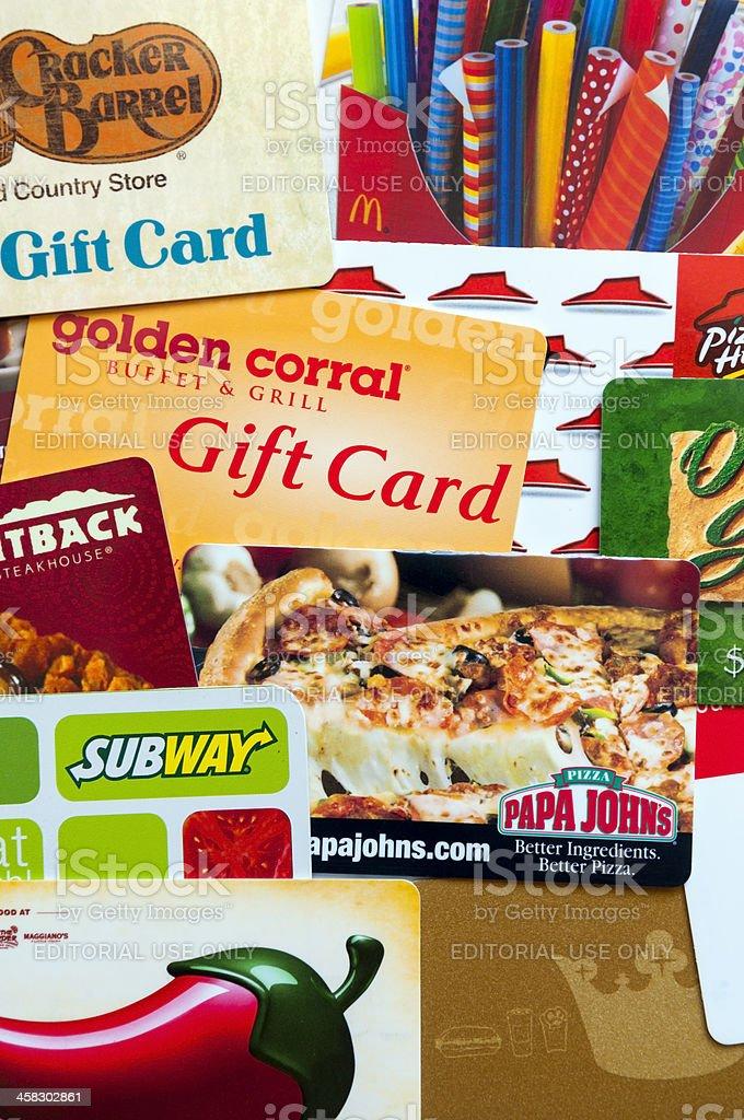 Restaurant gift cards stock photo