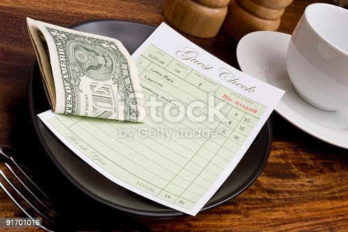 Guest check and cash in cafe