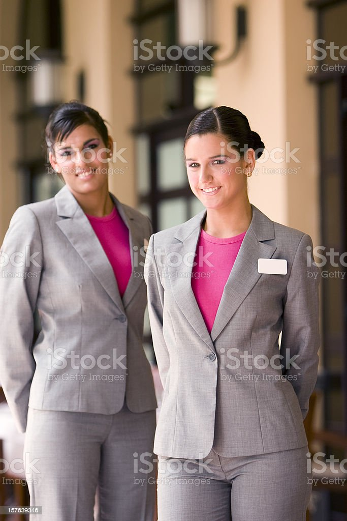 Restaurant hostess stock photo