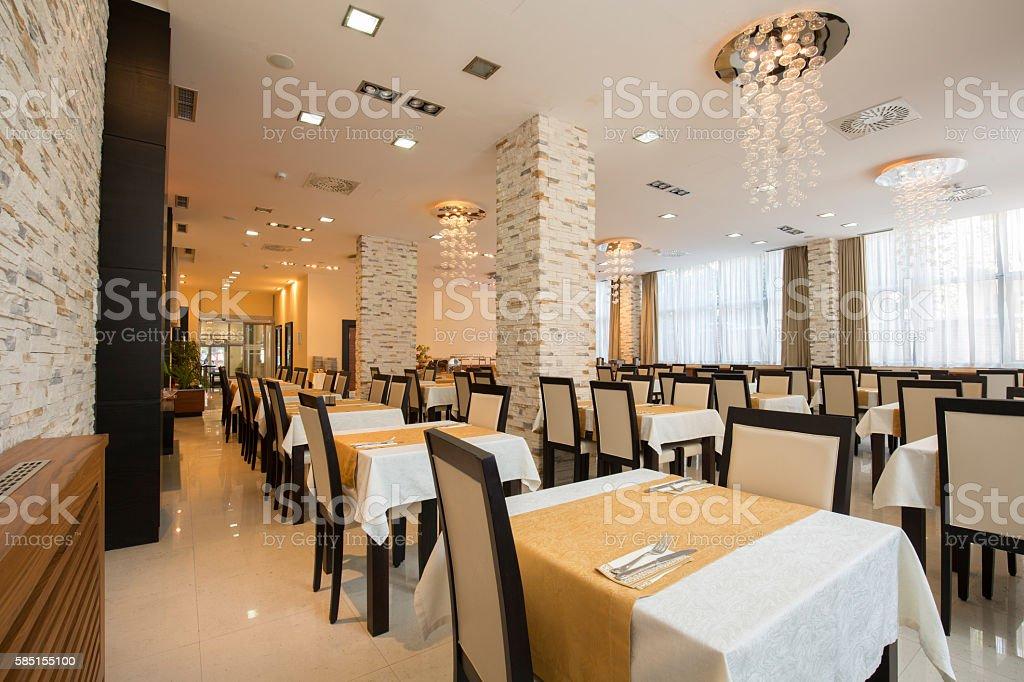 Restaurant in a luxury hotel stock photo