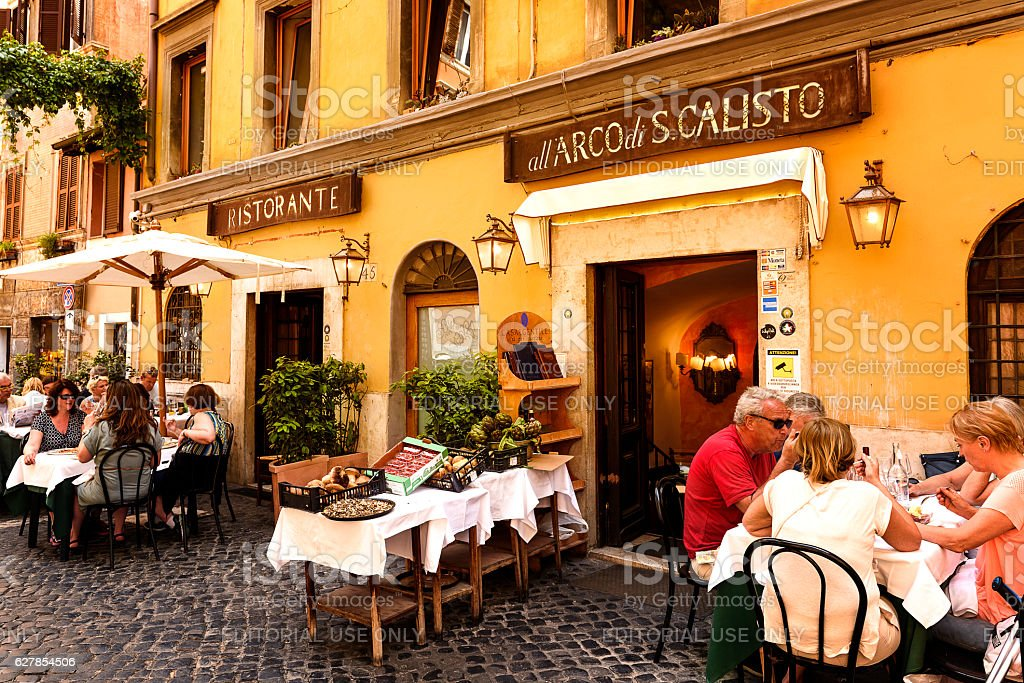 restaurant in a typical  streets of Roma stock photo