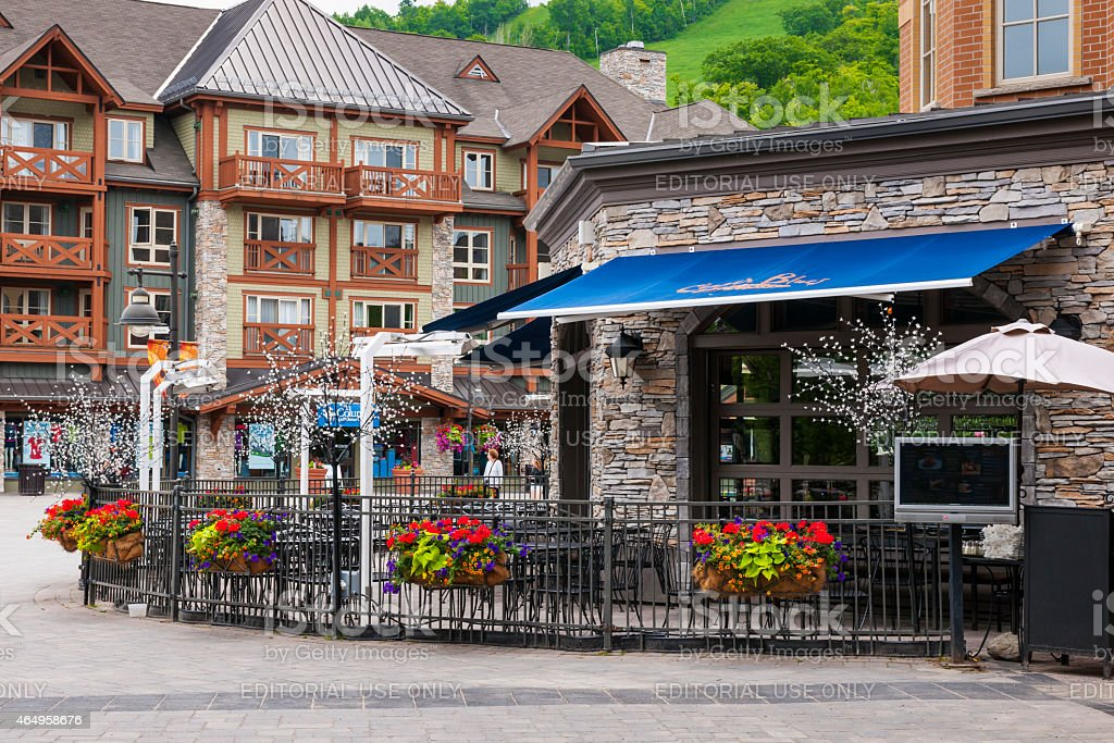 Restaurant in Blue Mountain Village, Collingwood, Canada stock photo