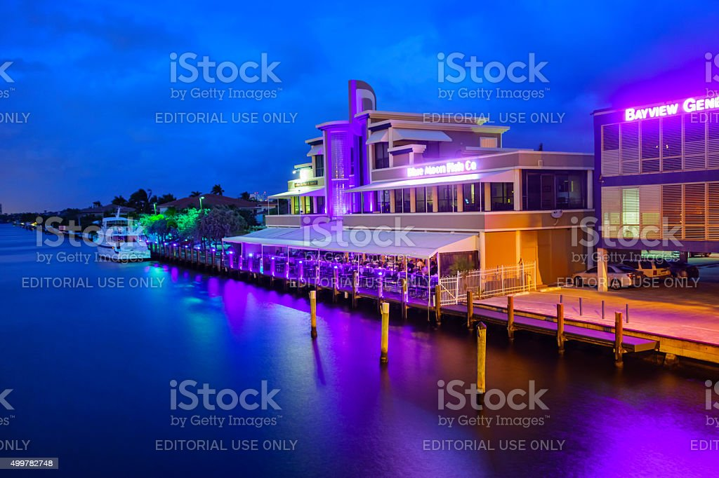Restaurant in Fort Lauderdale Florida USA in the Evening stock photo