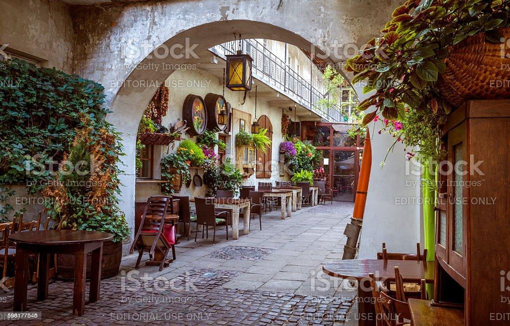 Restaurant in Jewish Quarter of Kazimierz district in Krakow stock photo