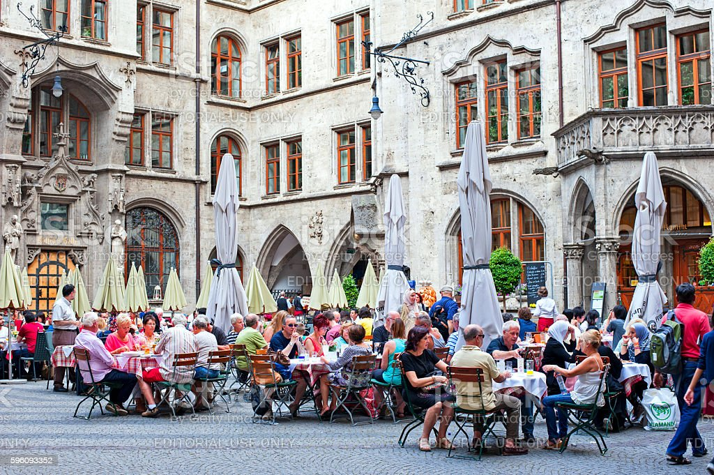 Restaurant in New Town Hall Munich royalty-free stock photo