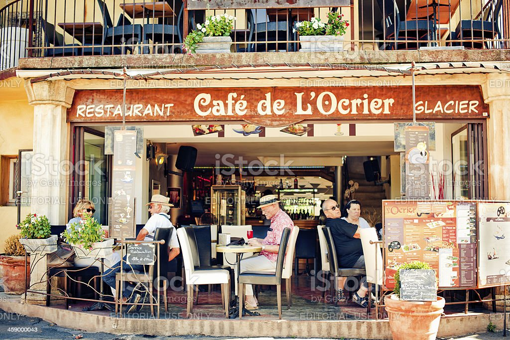 Restaurant in Roussillon stock photo