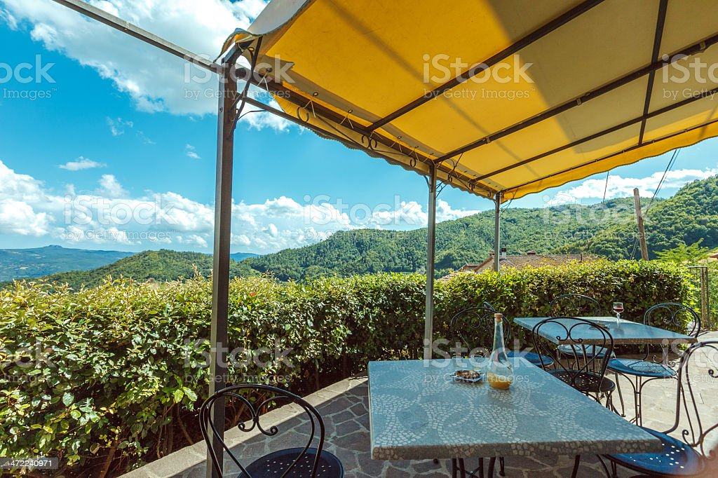 Restaurant in the mountains, Italy royalty-free stock photo