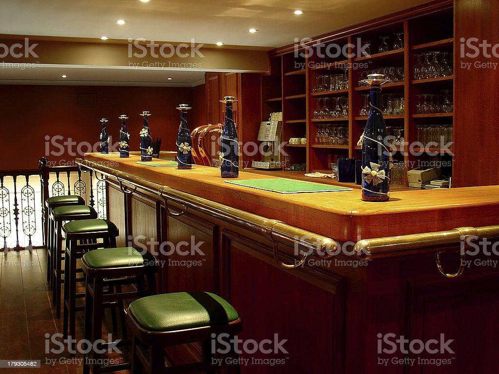 Restaurant Interior | Bar & Stools royalty-free stock photo