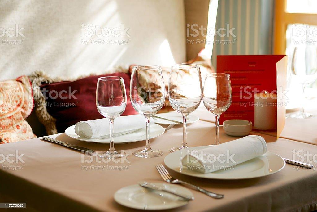 restaurant, interior, wineglass, fork, table, royalty-free stock photo