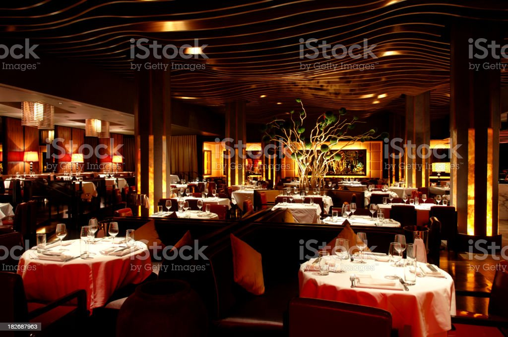 Restaurant Interior with Asian Fusion Atmosphere stock photo