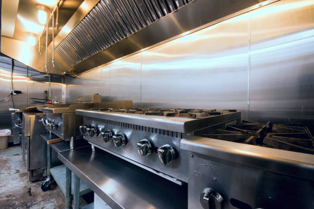 Restaurant Kitchen Hot Line and Hood stock photo