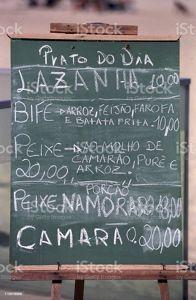 Restaurant menu in portuguese royalty-free stock photo