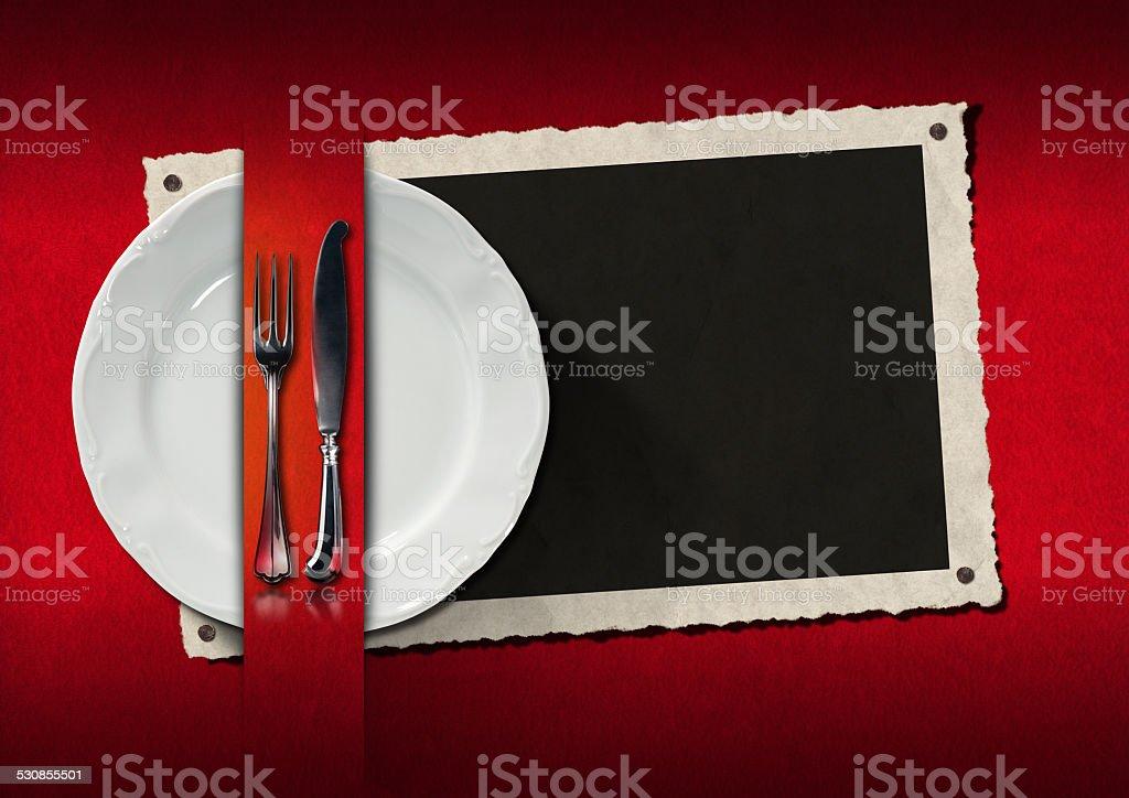 Restaurant Menu with Photo Frame stock photo
