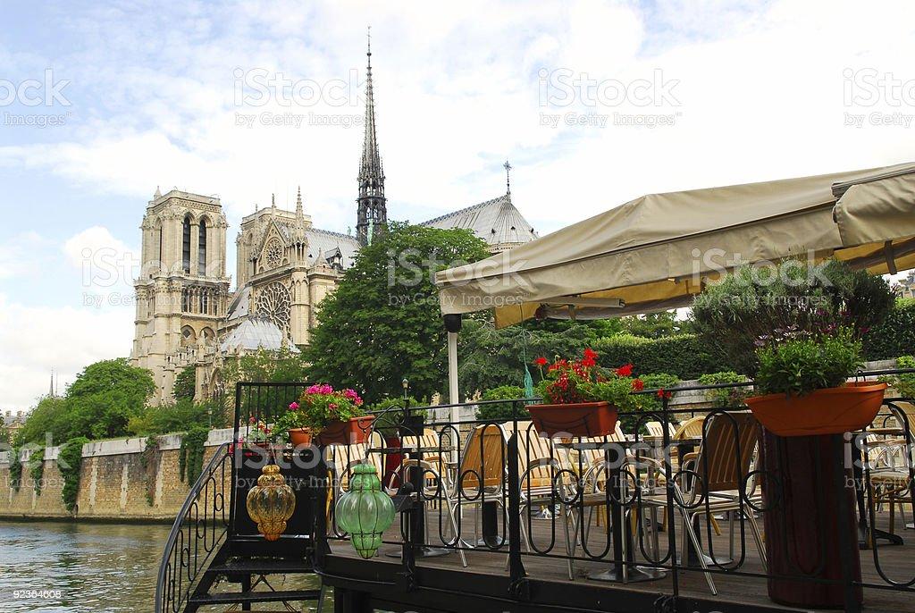 Restaurant on Seine stock photo