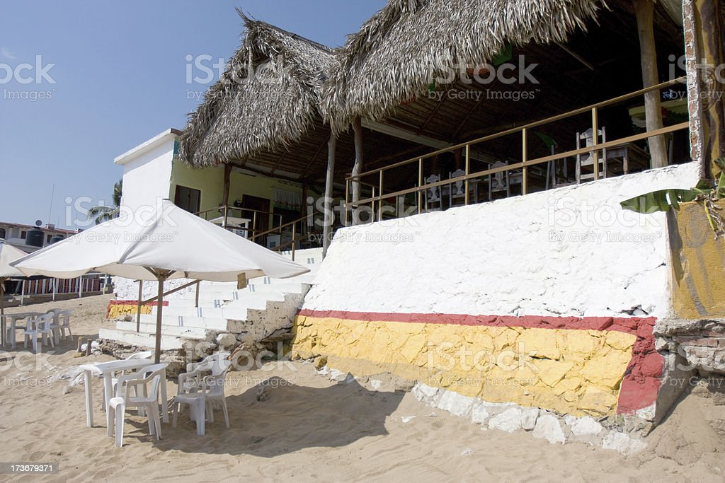 Restaurant on the beach in Jalisco, Mexico royalty-free stock photo