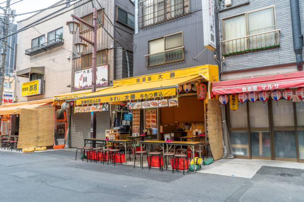 A restaurant on the famous Hoppy Dori street is empty in the morning in Asakusa stock photo