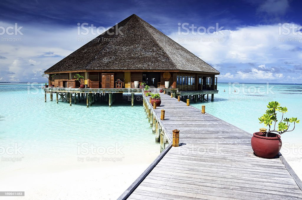 Restaurant on the Maldives stock photo