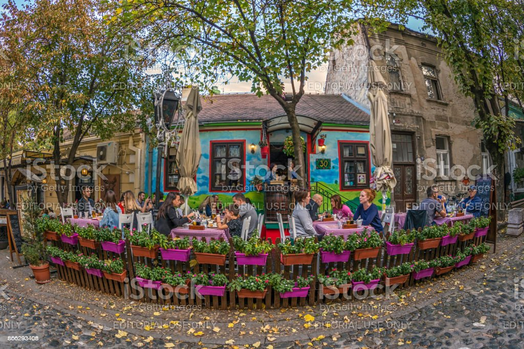 Restaurant on the old street Skadarlija, Belgrade, Serbia stock photo