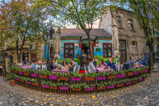 restaurant on the old street skadarlija, belgrade, serbia - serbia stock pictures, royalty-free photos & images