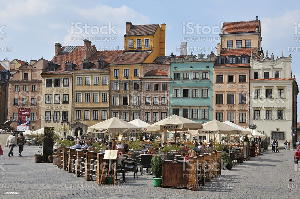 Restaurant on the Old Town Square in Warsaw stock photo