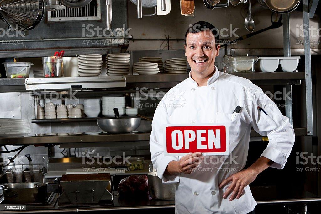 Restaurant open for business stock photo